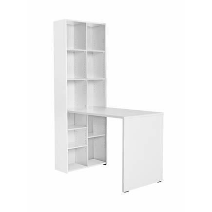 Adore Mobilya - 10 Raflı Kitaplıklı Çalışma Masası - Diamond Beyaz