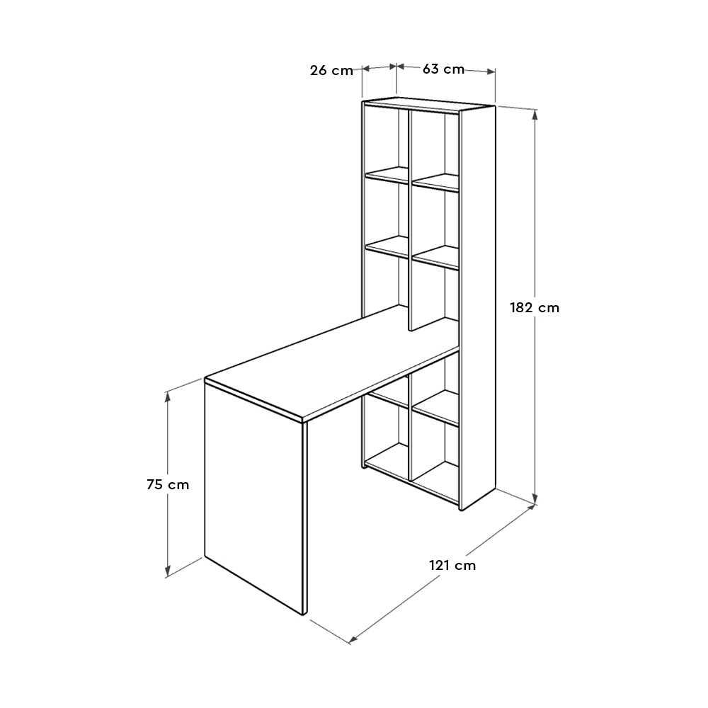 10 Raflı Kitaplıklı Çalışma Masası - Diamond Beyaz
