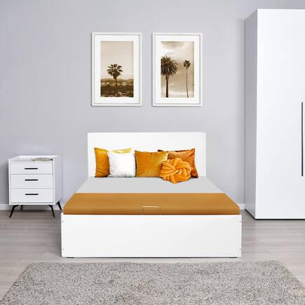 135 cm Çift Kişilik Karyola - Diamond Beyaz - Thumbnail