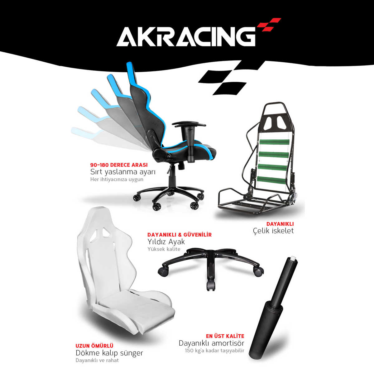AKRacing Player Seri Profesyonel PC Oyuncu ve Yönetici Koltuğu - Kırmızı-Siyah