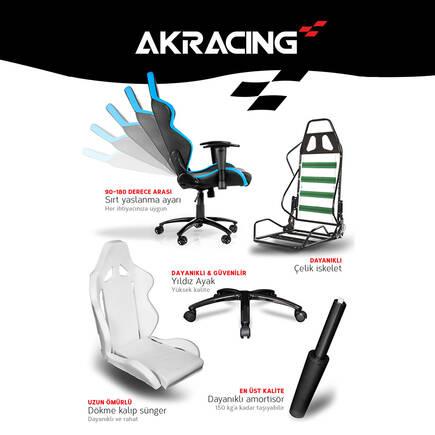 AKRacing Pro X Serisi Profesyonel PC Oyuncu ve Yönetici Koltuğu - Siyah-Beyaz - Thumbnail