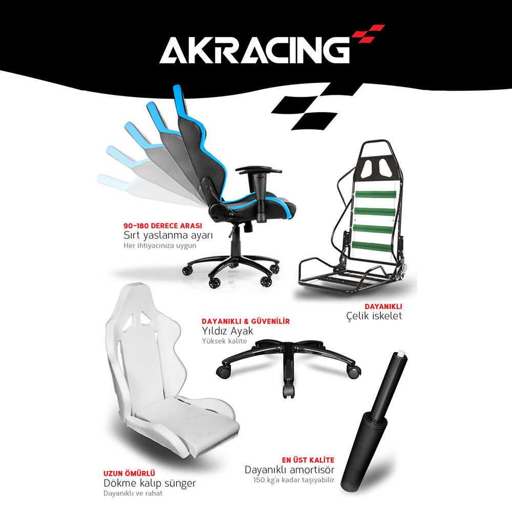 AKRacing Pro X Serisi Profesyonel PC Oyuncu ve Yönetici Koltuğu - Siyah-Mavi