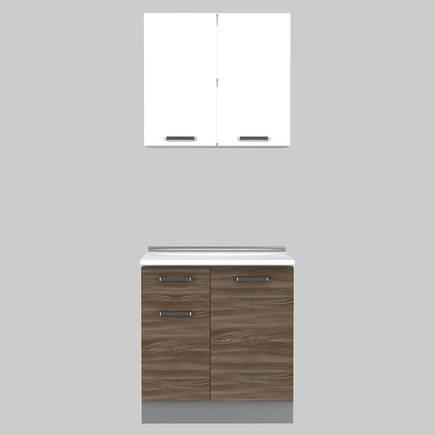 Adore Mobilya - Adore Apart Hazır Mutfak Dolabı 80 cm MTF-080-SP-1 Sedef-Lake Beyaz