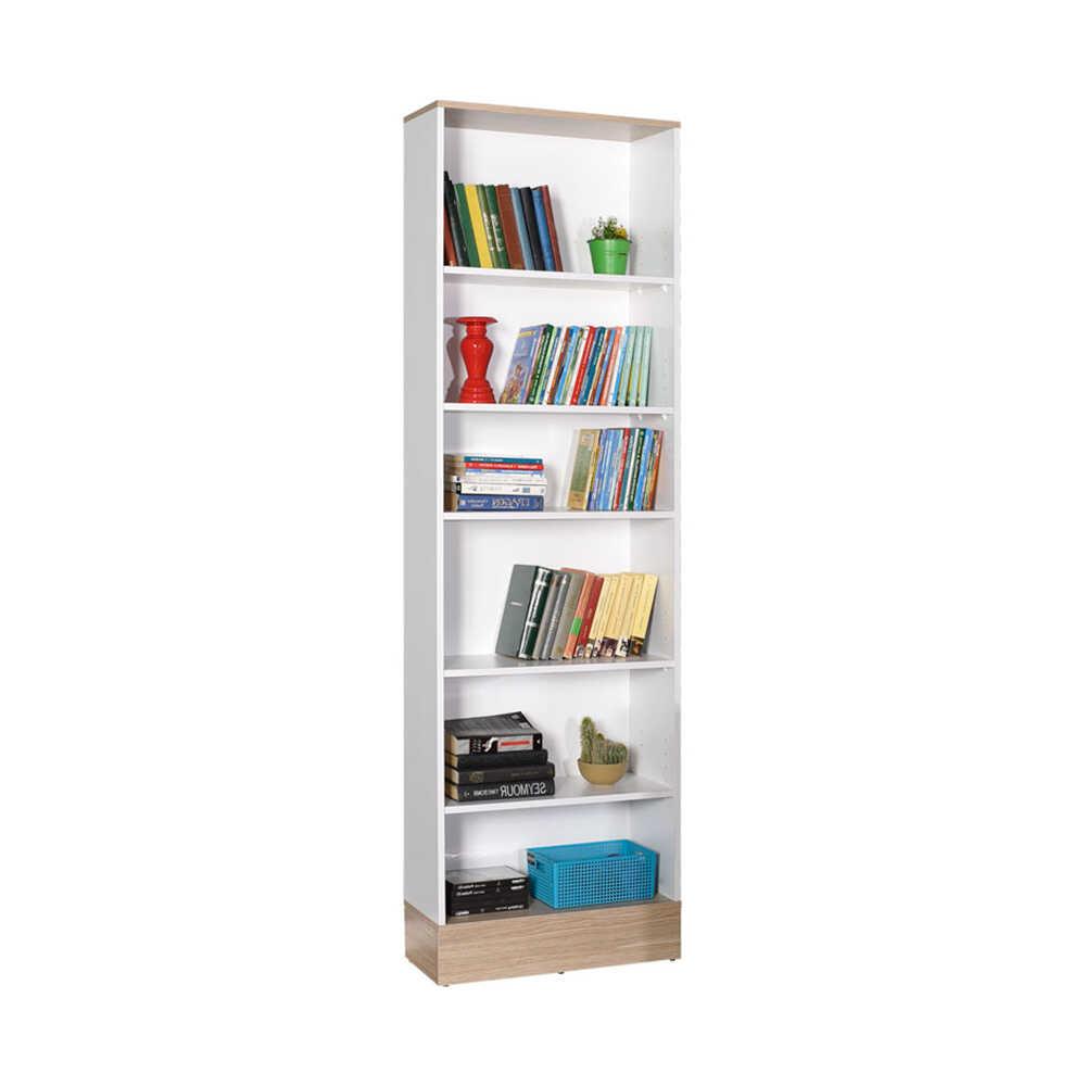 Base Genç Odası 6 Raflı Kitaplık -İtalyan Meşe-Beyaz