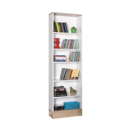 Base Genç Odası 6 Raflı Kitaplık -İtalyan Meşe-Beyaz - Thumbnail