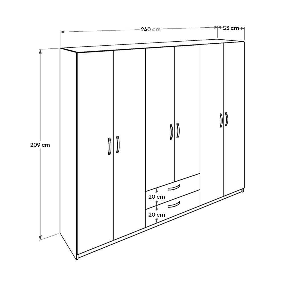 Bodrum 6 Kapılı 2 çekmeceli Gardırop - Meşe Beyaz