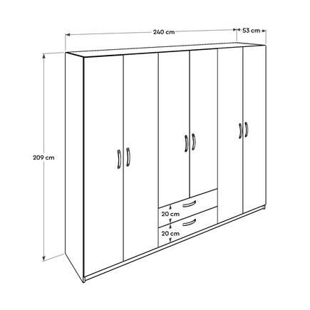Bodrum 6 Kapılı 2 çekmeceli Gardırop - Meşe Beyaz - Thumbnail