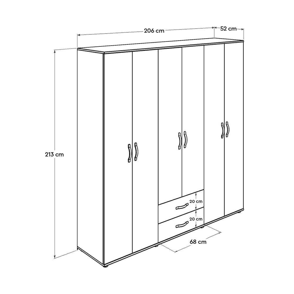 Dinamik Genç Odası 6 Kapı İki Çekmeceli Gardırop - Zara