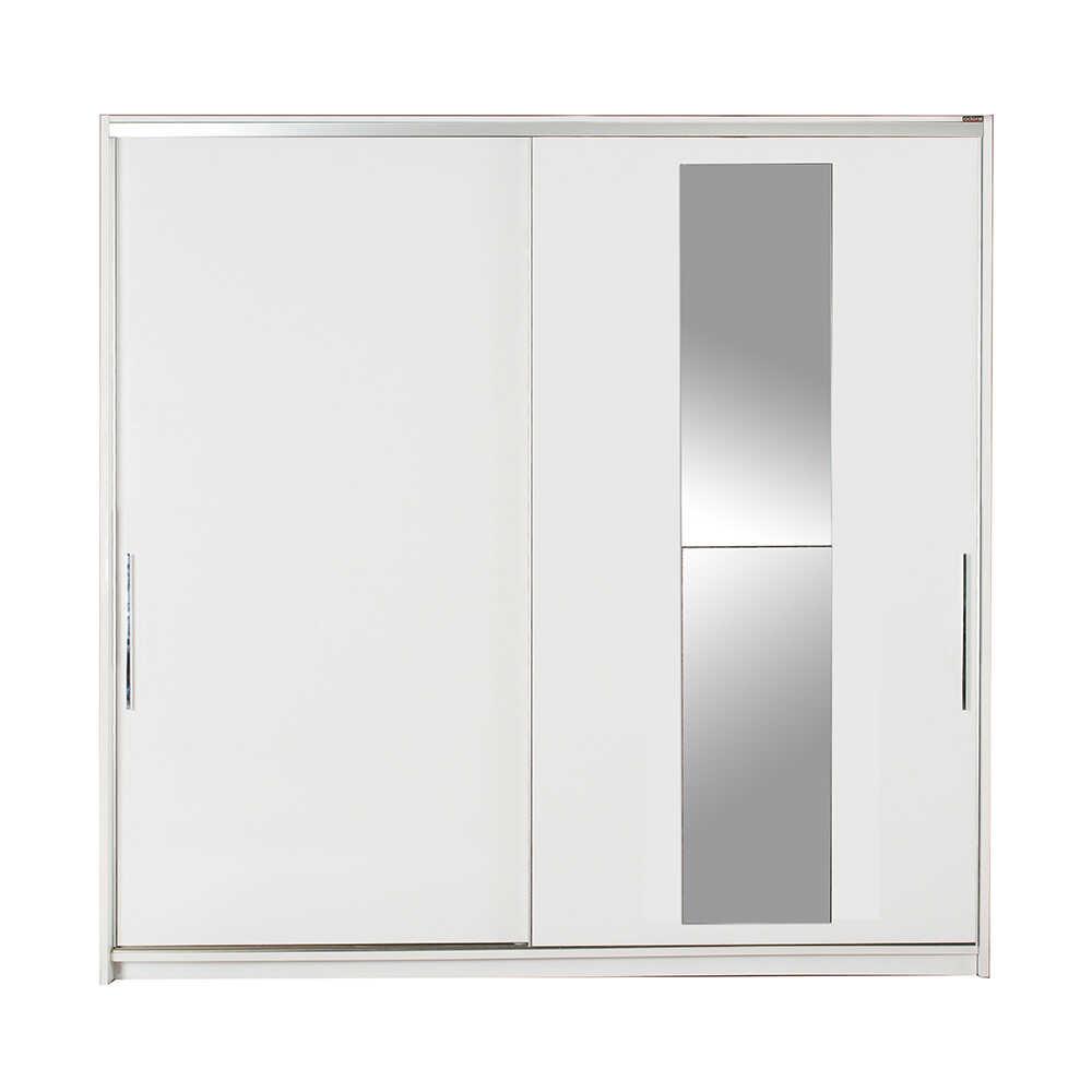 Elit Plus Aynalı Sürgülü Gardırop - Beyaz