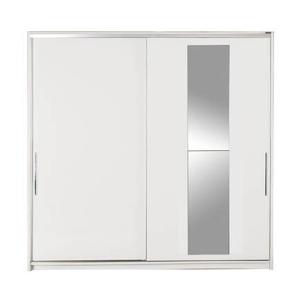 Elit Plus Aynalı Sürgülü Gardırop - Beyaz - Thumbnail