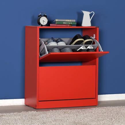 ADORE MOBILYA - Adore Flat Duo 2 Katlı Geniş Ayakkabılık Dolabı SHC-520-KK-1 Kırmızı