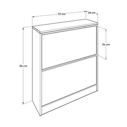 Flat Duo 2 Katlı Geniş Ayakkabılık Dolabı - Mor - Thumbnail