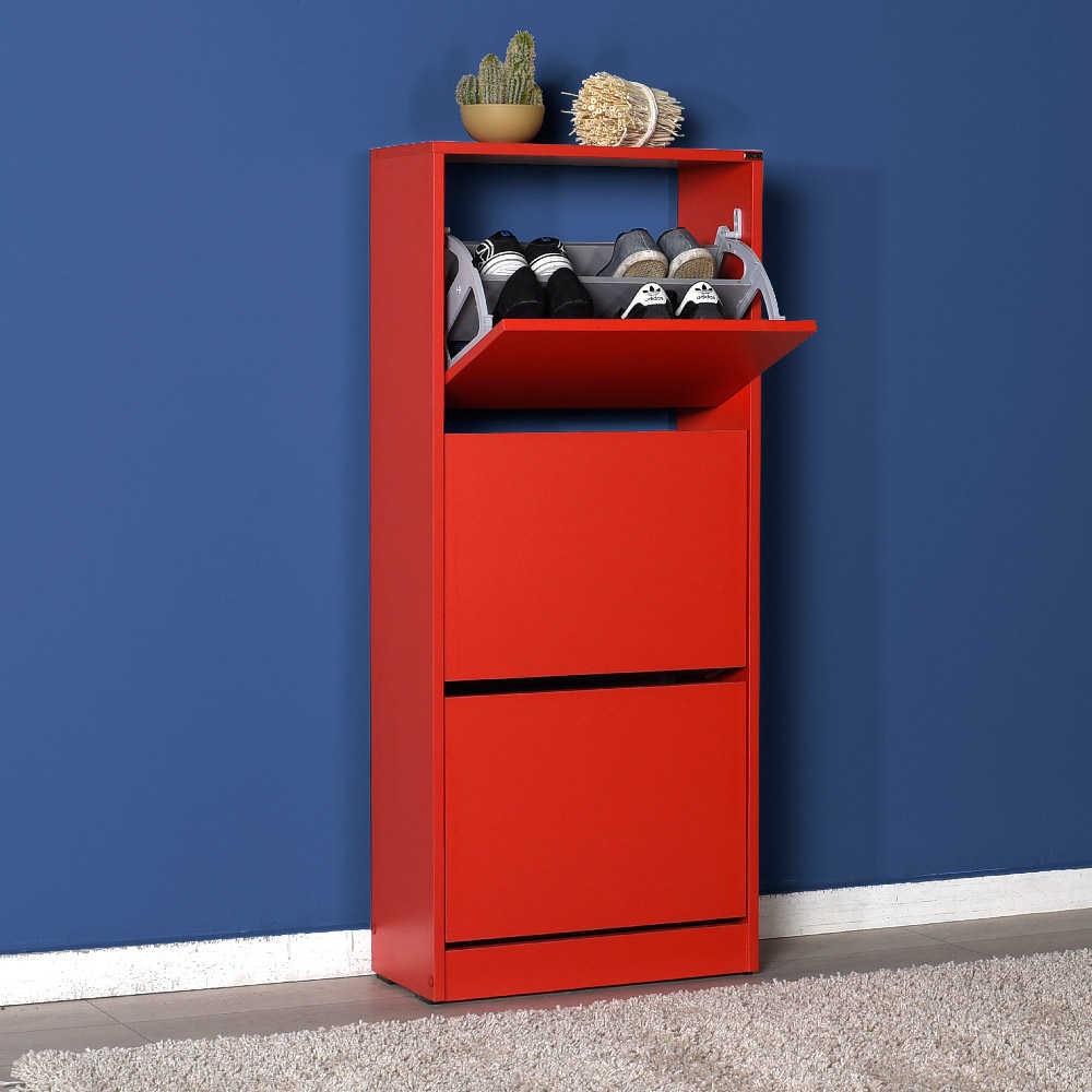Flat Duo 3 Katlı Ayakkabılık Dolabı - Kırmızı