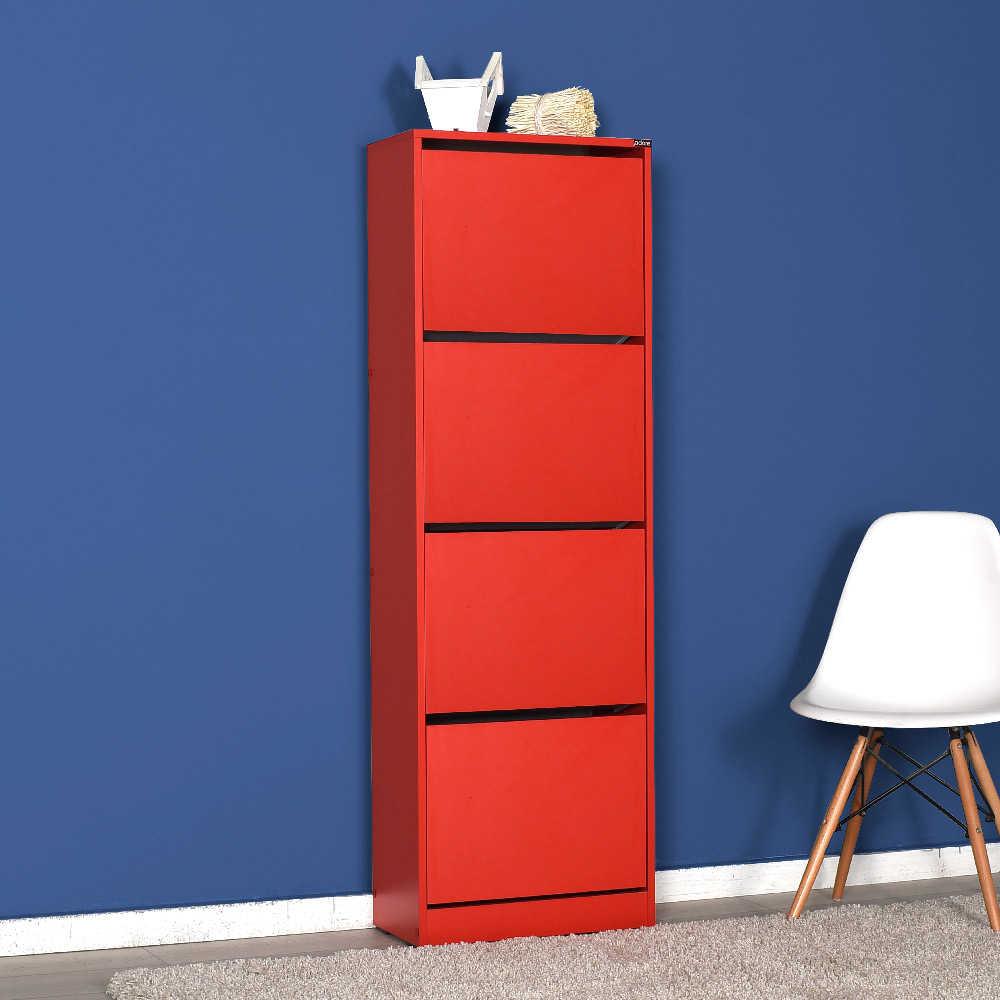 Flat Duo 4 Katlı Ayakkabılık Dolabı - Kırmızı