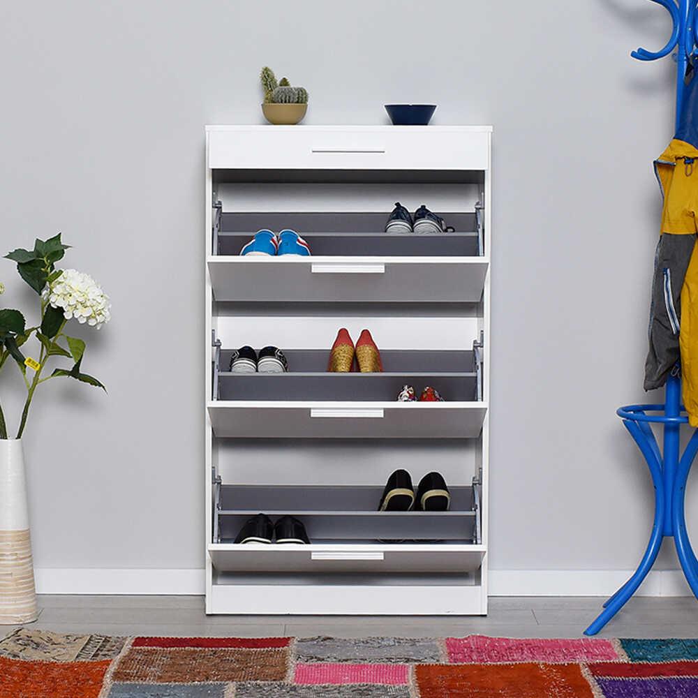 Flat Düşer Kapaklı Çekmeceli Ayakkabılık-Diamond Beyaz