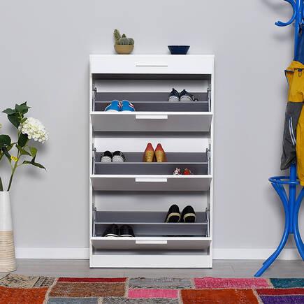 Flat Düşer Kapaklı Çekmeceli Ayakkabılık-Diamond Beyaz - Thumbnail