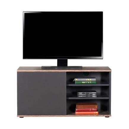 Flat Line Kapaklı Üç Bölmeli Tv Sehpası Latte-Antrasit - Thumbnail