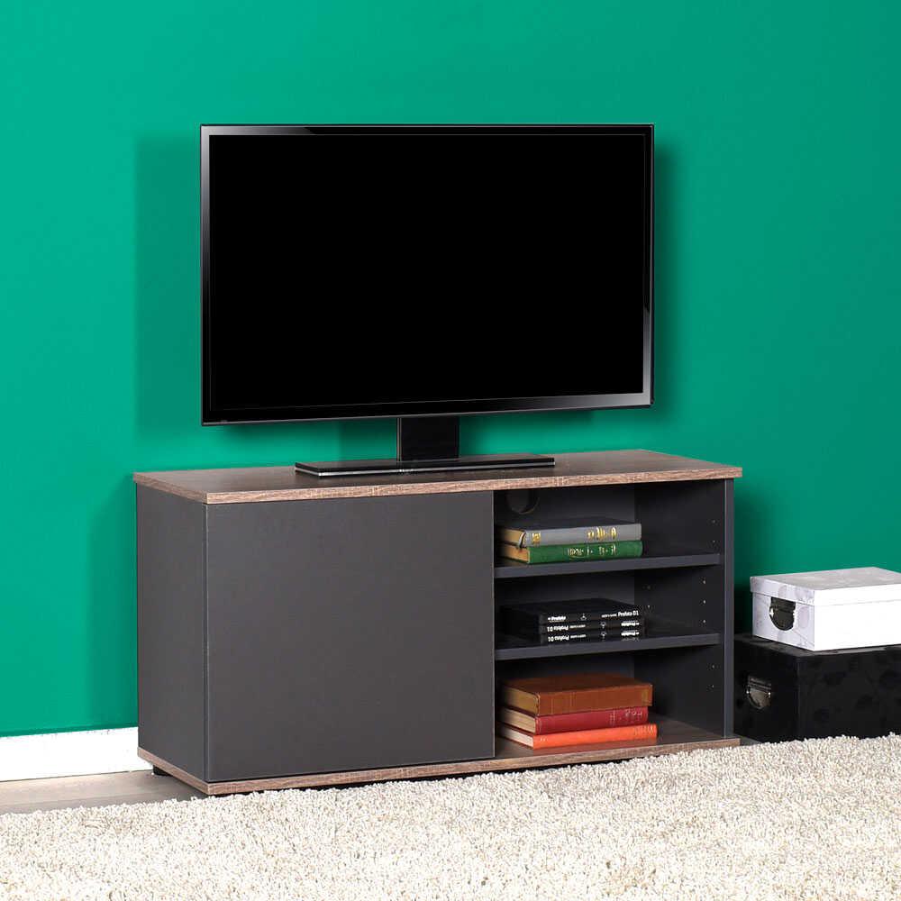 Flat Line Kapaklı Üç Bölmeli Tv Sehpası Latte-Antrasit