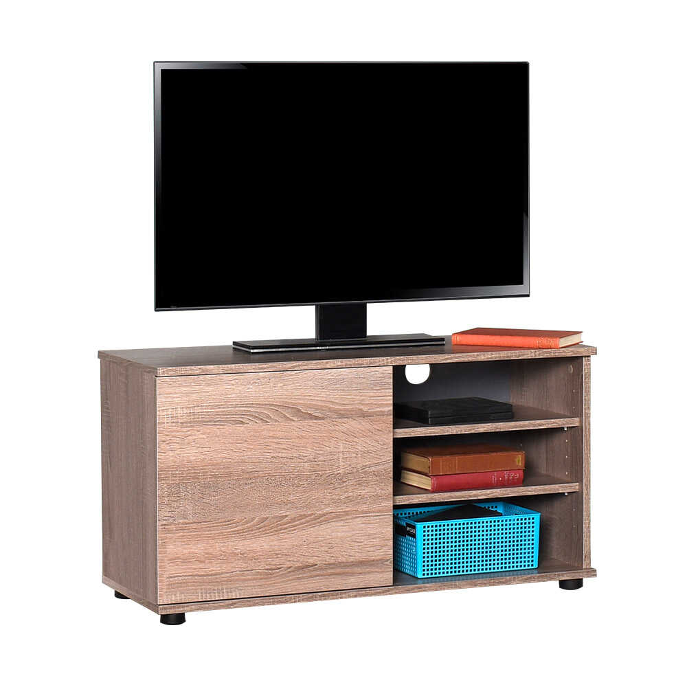 Flat Line Kapaklı Üç Bölmeli Tv Sehpası - Latte