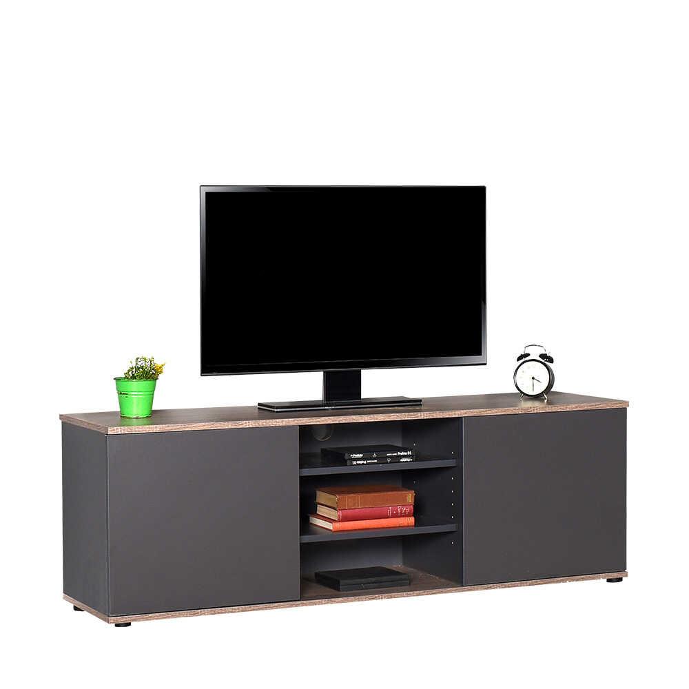 Flat Line Max İki Kapaklı Üç Bölmeli Tv Sehpası - Latte-Antrasit