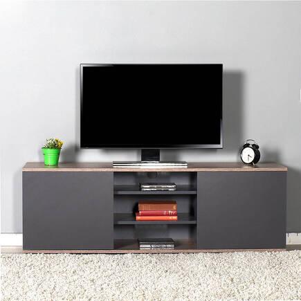 Flat Line Max İki Kapaklı Üç Bölmeli Tv Sehpası - Latte-Antrasit - Thumbnail