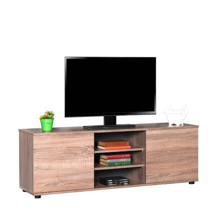 Flat Line Max İki Kapaklı Üç Bölmeli Tv Sehpası - Latte - Thumbnail