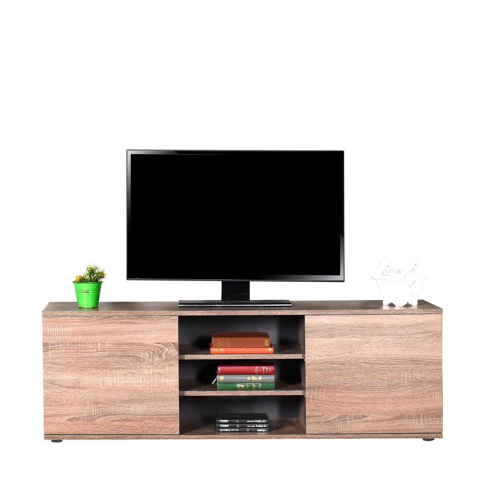 Flat Line Max İki Kapaklı Üç Bölmeli Tv Sehpası - Latte
