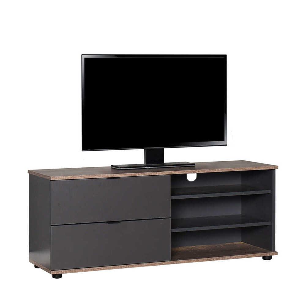 Flat Line Plus İki Çekmeceli Üç Bölmeli Tv Sehpası Latte-Antrasit