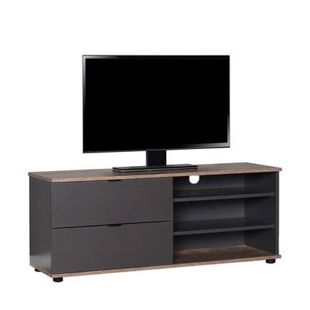 Adore Mobilya - Flat Line Plus İki Çekmeceli Üç Bölmeli Tv Sehpası Latte-Antrasit