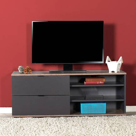 Flat Line Plus İki Çekmeceli Üç Bölmeli Tv Sehpası Latte-Antrasit - Thumbnail