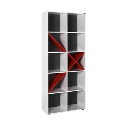 Adore Mobilya - Gaming 10 Raflı Dekoratif Kitaplık - Kırmızı-Beyaz