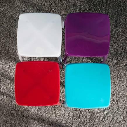 Handy Mate Star Parlak Renkli Tabure - Beyaz - Thumbnail