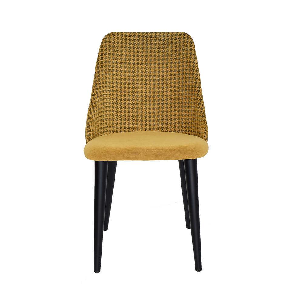Lizbon Siyah Ayaklı Sandalye-Siyah / Sarı