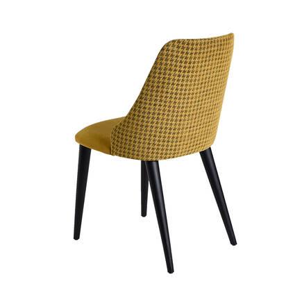 Lizbon Siyah Ayaklı Sandalye-Siyah / Sarı - Thumbnail
