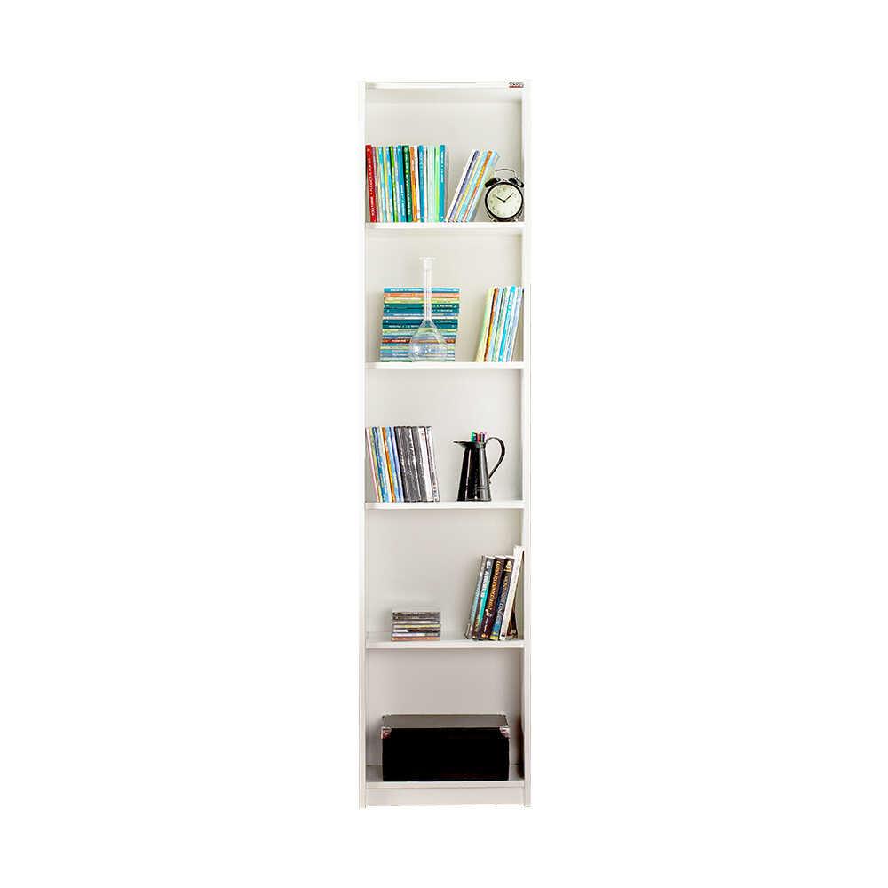 Modern 5 Raflı Dar Kitaplık - Lake Beyaz