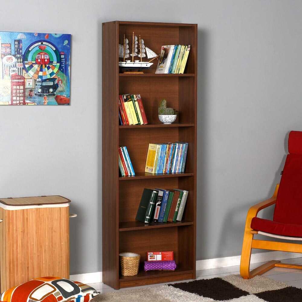 Modern 5 Raflı Kitaplık - İspanyol Ceviz