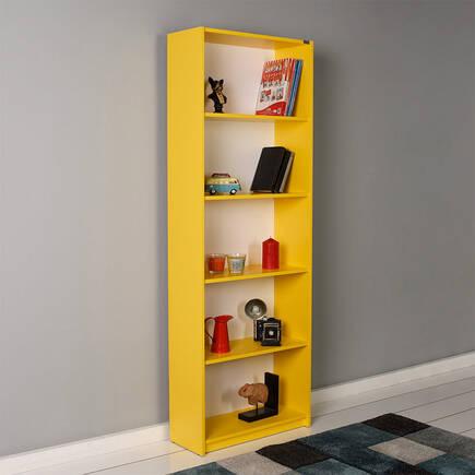 Modern 5 Raflı Kitaplık - Sarı - Thumbnail