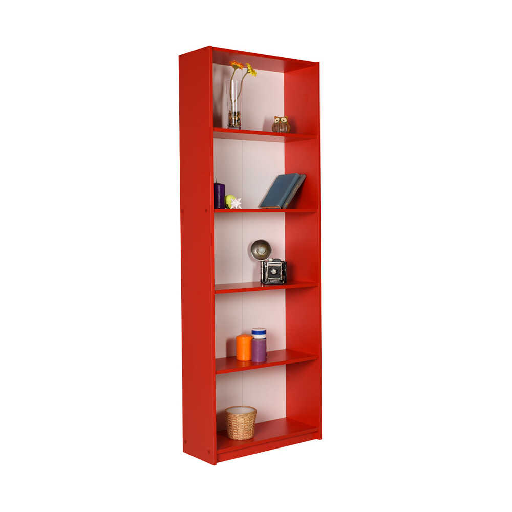 Modern 5 Raflı Kitaplık - Kırmızı