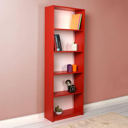 Modern 5 Raflı Kitaplık - Kırmızı - Thumbnail