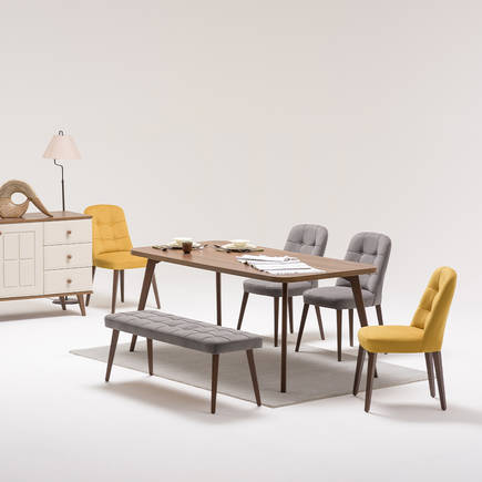 Navona Masif Sandalye-Sarı/Gri - Thumbnail