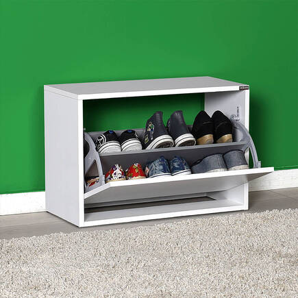 New Step Oturaklı Ayakkabılık - Beyaz - Thumbnail