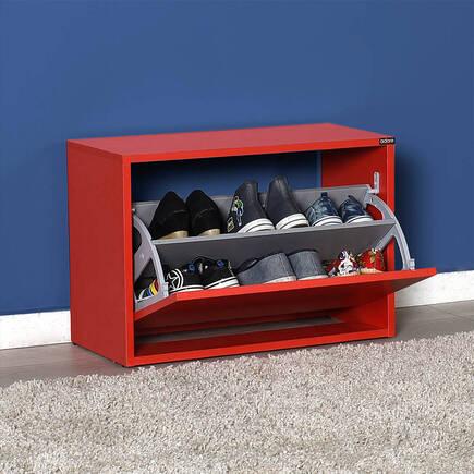New Step Oturaklı Ayakkabılık - Kırmızı - Thumbnail