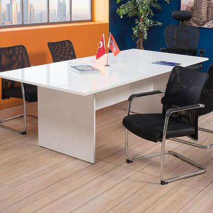 New York Toplantı Masası 8 Kişilik - Lake Beyaz - Thumbnail