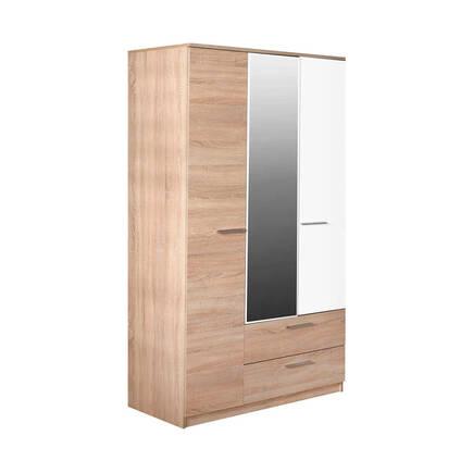 Adore Mobilya - Plus 3 Kapılı 2 Çekmeceli Aynalı Gardırop - Sonoma-Diamond Beyaz
