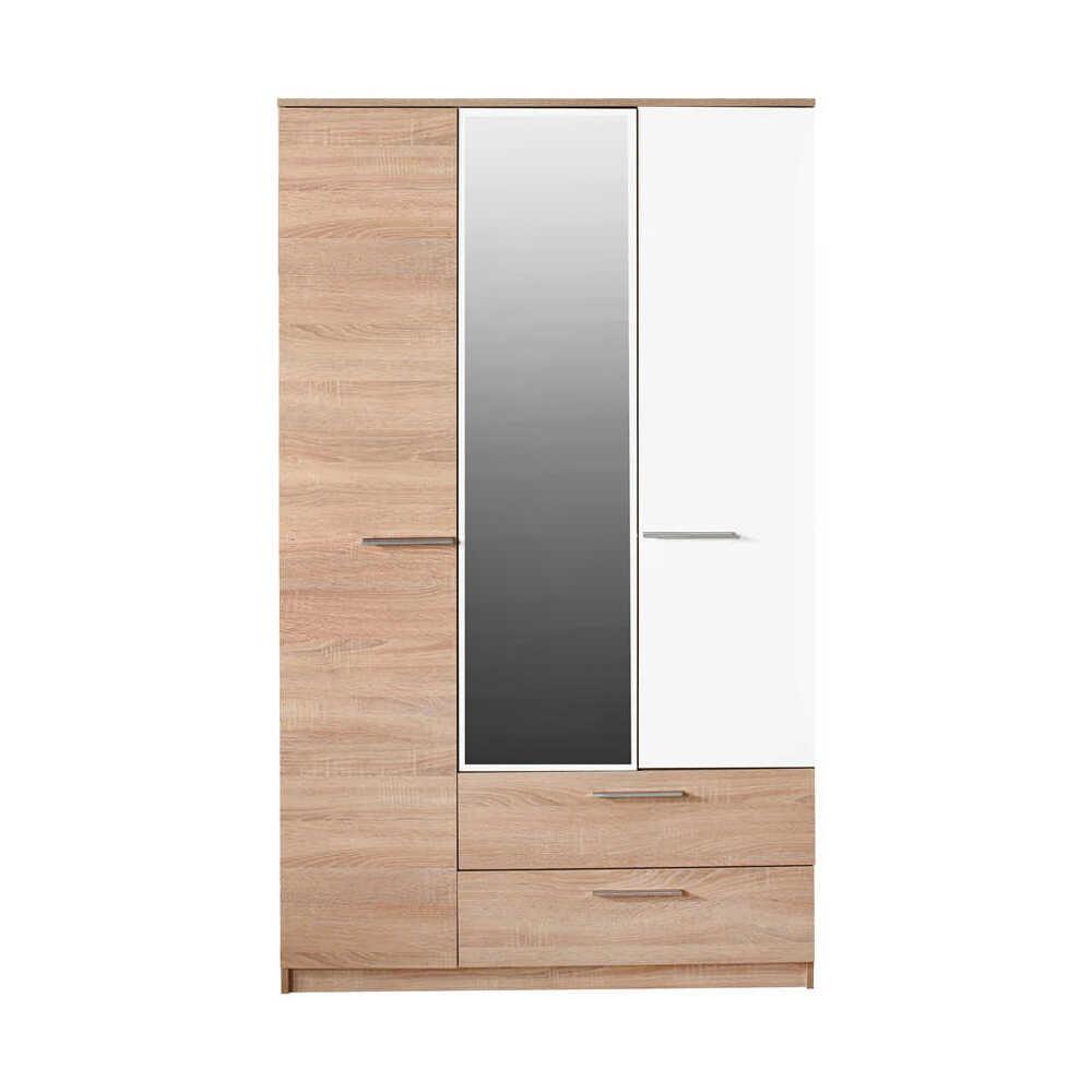 Plus 3 Kapılı 2 Çekmeceli Aynalı Gardırop - Sonoma-Diamond Beyaz