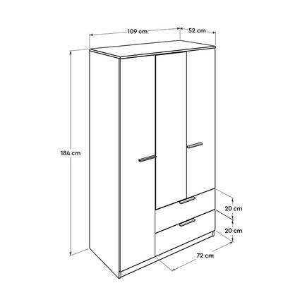 Plus 3 Kapılı 2 Çekmeceli Aynalı Gardırop - Sonoma-Diamond Beyaz - Thumbnail