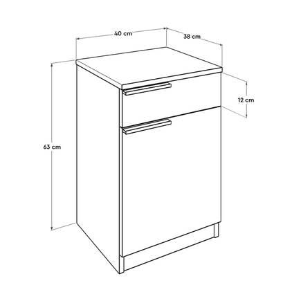 Plus Tek Çekmeceli Kapaklı Komodin - Sonoma-Diamond Beyaz - Thumbnail