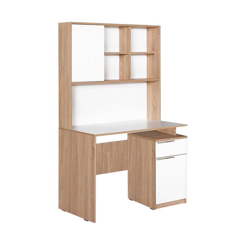 Plus Üniteli Çekmeceli Çalışma Masası - Sonoma-Diamond Beyaz