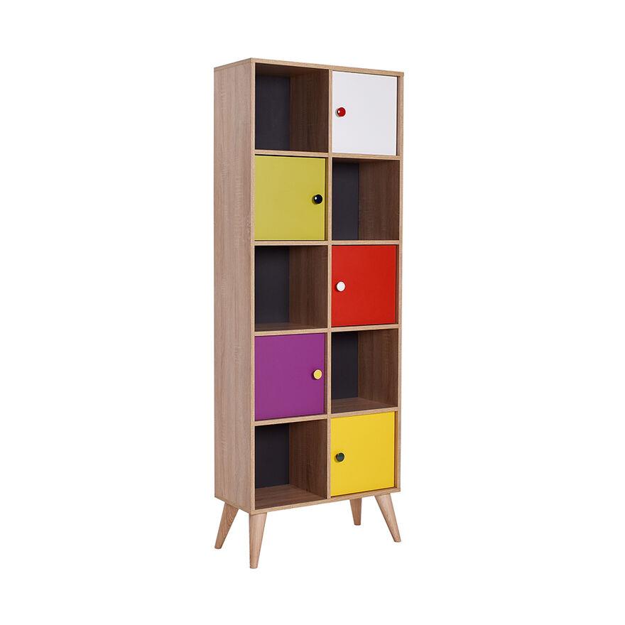 Adore Mobilya - Rainbow Genç Odası 10 Raflı 5 Kapaklı Kitaplık - Sonoma-Karışık