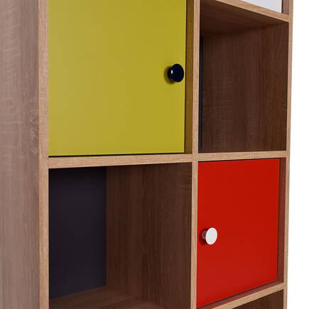 Rainbow Genç Odası 10 Raflı 5 Kapaklı Kitaplık - Sonoma-Karışık - Thumbnail